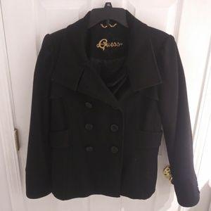 Guess black wool winter peacoat size L